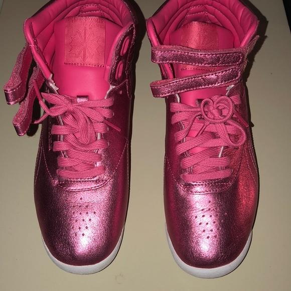 Hot Pink Metallic Reebok High Top Sneakers 1245959a4